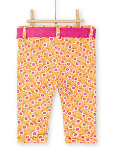 Pantalon jaune à fleur bébé fille KIREPAN / 20WG09G1PAN107