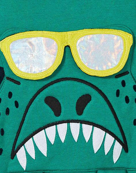 Sweat à capuche vert enfant garçon. KORESWE / 20W902G1D5EG626