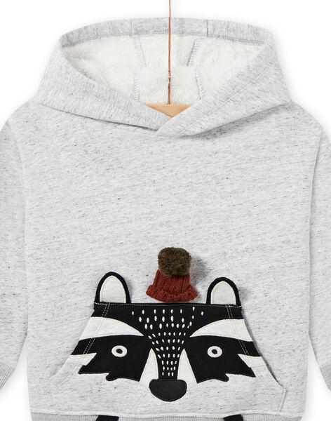 Sweat à capuche gris chiné motif animal enfant garçon MOSAUSWE / 21W902P1SWEJ922