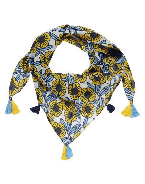 Foulard en coton fleur bleues et jaunes fille JYATROFOUL / 20SI01F1FOU001