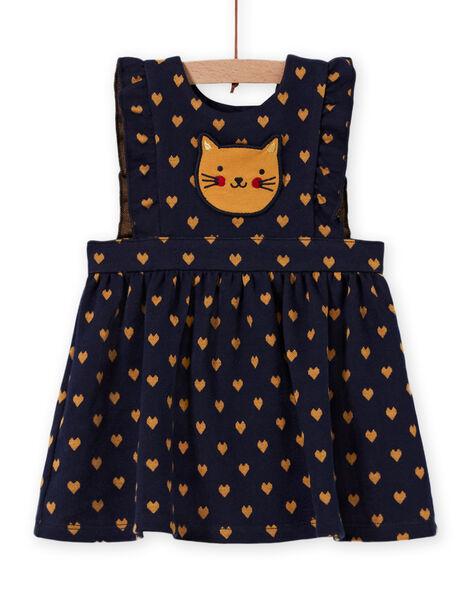 Robe milano bleu marine motif chat bébé fille MIMIXROB1 / 21WG09J1ROB070
