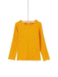 T-shirt manches longue miel imprimé floral à côtes et col volanté KAJOUTEE4 / 20W9013CD32107