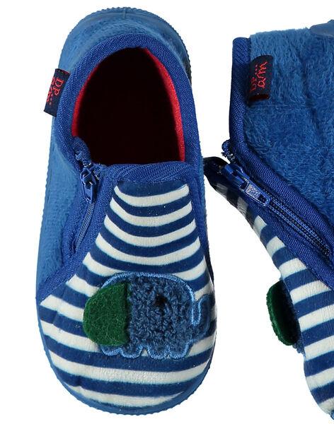Chausson velours bleu à rayures bébé garçon GBGBOTELE / 19WK38Z5D0A070