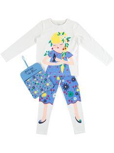 Pyjama déguisement écru enfant fille avec son range-pyjama JEFAPYJBON / 20SH11L1PYG000