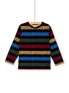 T-shirt marine rayure ethnique enfant garçon  KOSATEE4 / 20W902O3TMLF511