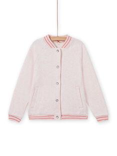 Veste teddy de jogging rose chiné enfant fille MAJOHAUJOG2 / 21W90112JGHD314