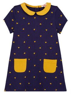 vente la plus chaude plus bas rabais nouveau pas cher Robe manches courtes avec col claudine, imprimé à pois jaune et poches  jaune sur le vas de la robe