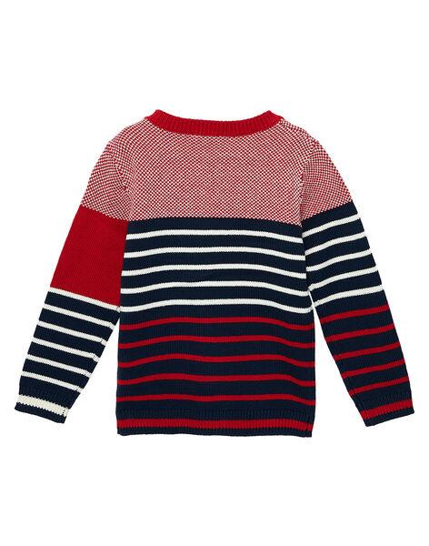 Pull en coton garçon rayé et jacquard marine et rouge JOJOPUL3 / 20S90242D2EF505