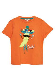 Tee shirt garçon manches courtes piment orange JOMARTI2 / 20S902P2TMCE405