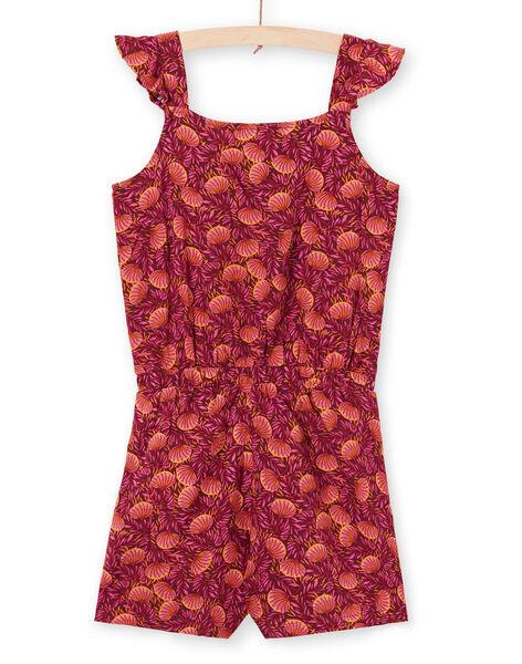 Combinaison bordeaux et orange imprimé feuillage enfant fille LATERCOMBI / 21S901V1CBL719