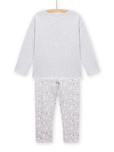 Pyjama en molleton gris chiné à motif lama phosphorescent enfant fille MEFAPYJLAM / 21WH1194PYJJ920