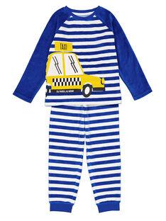 Pyjama bleu rayé en velours enfant garçon GEGOPYJRAY / 19WH12N9PYJ217