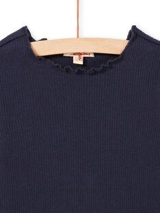 T-shirt côtelé manches longues uni bleu nuit enfant fille MAJOUTEE2 / 21W90122TMLC205