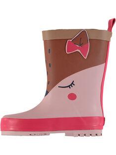 Botte de pluie en caoutchouc rose avec animation biche. Tire botte à l'arrière pour faciliter l'enfilage. Semelle extérieure en caoutchouc exclusif DP…am au dessin ludique. GBFBPJAU / 19WK37G2D0C030