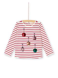 T-shirt manches longues rayé et boules de noël brodé et en sequins réversibles KANOTEE / 20W901Q1TMLF529