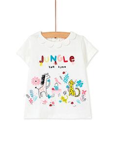 Tee-shirt manche courte blanc bébé fille KIBRIBRAEX / 20WG09F2BRA001