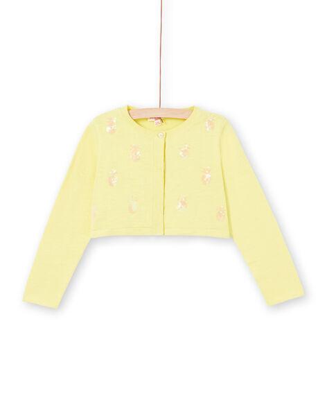 Cardigan manches longues avec ananas en sequins brodés LAJAUCAR1 / 21S901O2CAR116