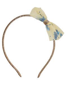 Serre-tête en glitter avec nœud en tulle JAUNE + petits sequins BLEU à l'interieur du tulle.  JYASOSERR / 20SI0181TETK008