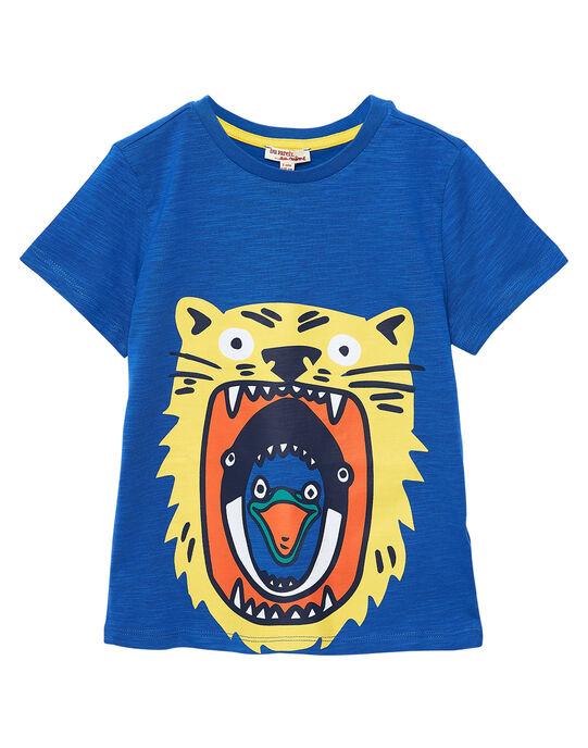 Tee shirt garçon manches courtes bleu cobalt animaux JOJOTI2 / 20S90246D31703