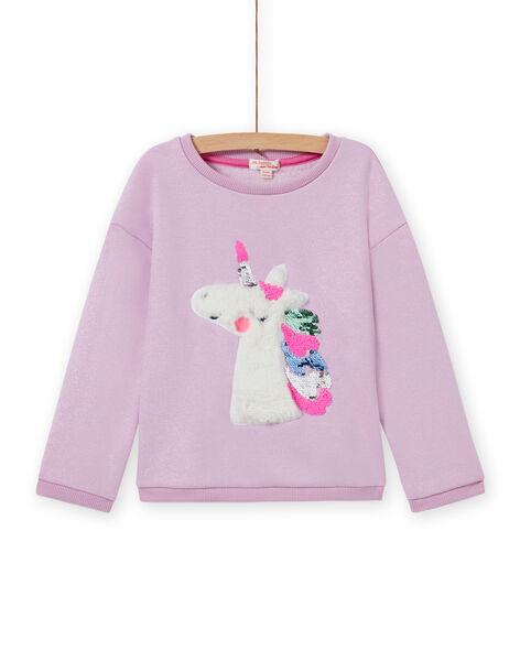 Sweat-shirt motif licorne à sequins réversibles enfant fille MAPLASWEA / 21W901O1SWE326