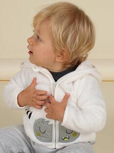 Gilet à capuche écru motif monstre en soft boa bébé garçon MUHIGIL / 21WG10U1GIL001