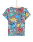 T-shirt gris chiné imprimé dinosaure enfant garçon MOPATI3 / 21W902H1TMCJ913