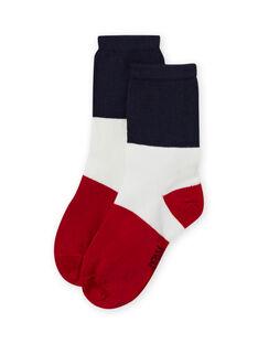 Chaussettes tricolores bleu et rouge enfant garçon MYOJOCHOC3 / 21WI0213SOQ705