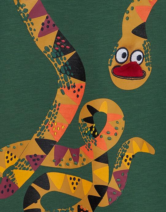 Tee shirt garçon manches courtes vert serpent JODUTI2 / 20S902O1TMC601