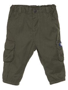 Pantalon polycoton vert militaire bébé garçon GUBRUPAN1 / 19WG10K1PANG631