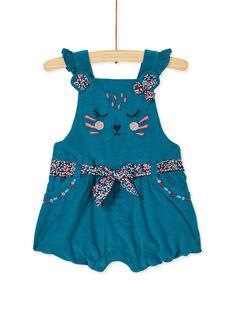 Salopette courte turquoise en velours bébé fille KIBRISAC / 20WG09F1SALC217