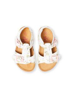Sandales blanches à boucles à imprimé ananas bébé fille LBFNUANAS / 21KK3751D0E000