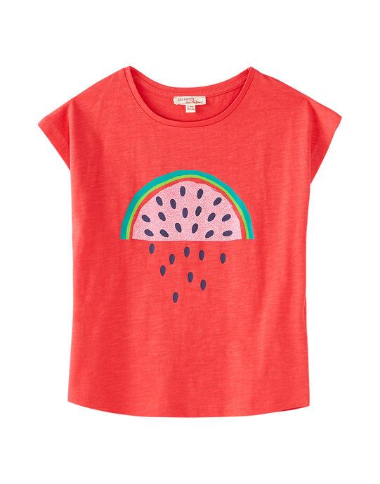 T-shirt manche courte, imprimé pastèque à paillette  JAJOTI9 / 20S901T5D31F506