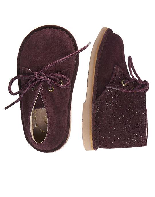 Desert boots croûte de cuir et paillétes bébé fille  GBFBOOTDES / 19WK37X3D0D719