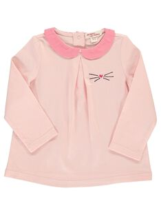 Tee-shirt rose col Claudine bébé fille DIJOBRA3 / 18WG0933BRA301