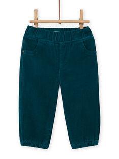 Pantalon bleu canard en velours côtelé bébé garçon MUJOPAN1 / 21WG1011PAN714
