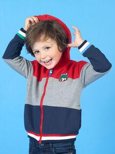 Gilet à capuche tricolore broderie football enfant garçon LOHAGIL / 21S902X1GIL050