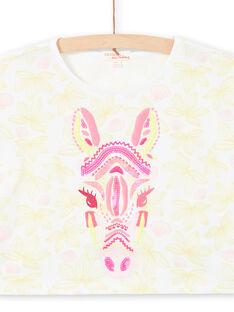 T-shirt blanc manches courtes imprimé fleuri et tête de zèbre brodée enfant fille LABONTI3 / 21S901W2TMC000