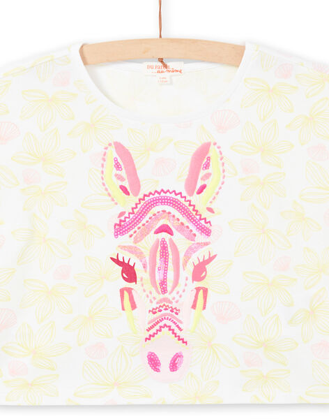 T-shirt manches courtes, imprimé fleurie et tête de zèbre brodée LABONTI3 / 21S901W2TMC000