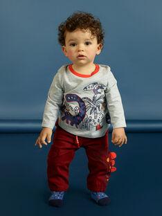 T-shirt gris chiné manches longues motifs dinosaures bébé garçon MUPATEE3 / 21WG10H2TML943