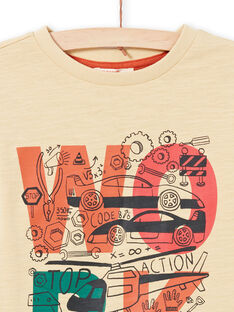 T-shirt manches longues beige et écru à motifs fantasie enfant garçon MOCOTEE1 / 21W902L1TMLA006