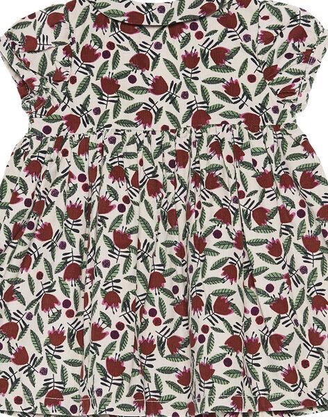 Robe en velours imprimée layette fille GIBRUROB3 / 19WG09K3ROB007