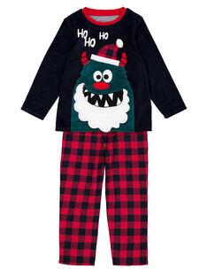 Pyjama de Noël en velours et bas flanelle enfant garçon GEGOPYJNO2 / 19WH12T1PYJC243