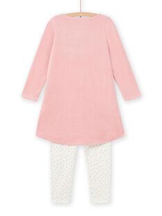 Ensemble pyjama vieux rose motifs cygnes fantaisie enfant fille MEFACHUVEL / 21WH1192CHN303