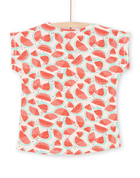 T-shirt rose et rouge imprimé pastèque enfant fille LAJOTI6 / 21S901FAD31D322
