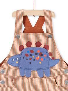 Salopette rayée en sergé animation dinosaure bébé garçon MUPASAL / 21WG10H1SALI811