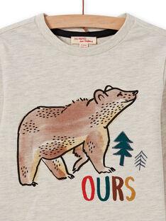 T-shirt beige chiné motif ours enfant garçon MOSAUTEE5 / 21W902P5TMLA013