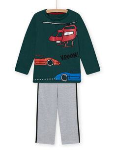 Ensemble pyjama en molleton vert à motif voitures enfant garçon MEGOPYJCAR / 21WH1299PYJ060