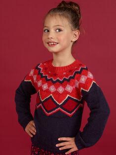 Pull maille motif jacquard coloré enfant fille MAFUNPULL1 / 21W901M2PULH703