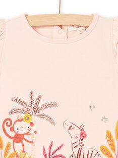 T-shirt mancherons rose bébé fille LITERTI / 21SG09V1TMCD322