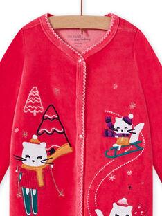 Grenouillère rose en velours motif chatons bébé fille MEFIGRESKI / 21WH1393GRE308